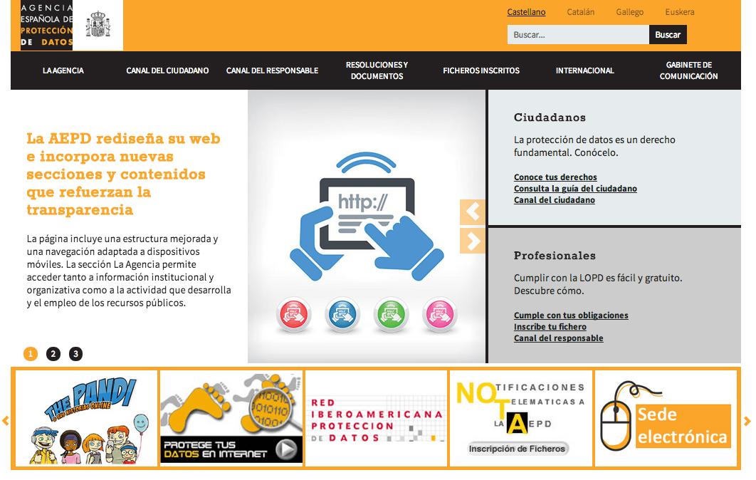 La AEPD rediseña su página web con un canal institucional sobre la Agencia