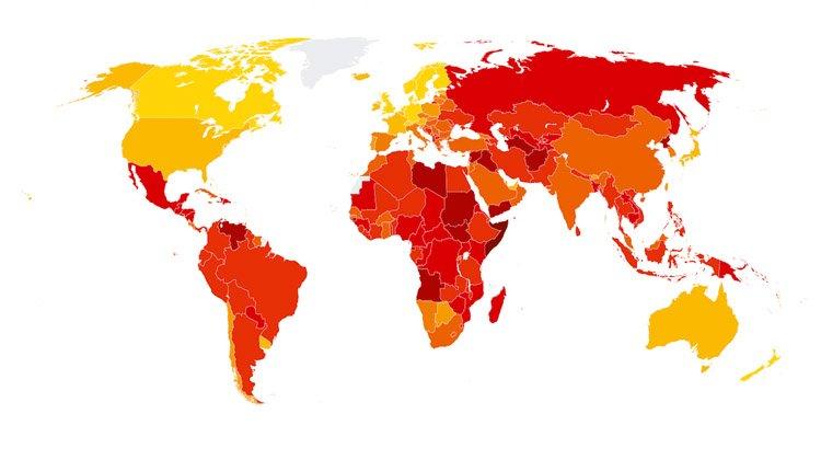 El Índice de Percepción de la Corrupción 2017 refleja un alto nivel de corrupción en más de dos tercios de los países del mundo