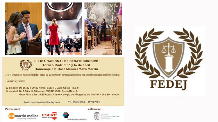 La Fundación Española de Debate Jurídico homenajea a D. José Manuel Maza Martín en su Torneo de Madrid