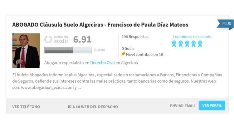 Los 5 mejores abogados de Algeciras según el ranking de Lexdir.com
